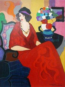 Itzchak Tarkay Nouvelles Figuration Empfang Kunstobjekte Moderne Senhora Portrait handgefertigte Ölgemälde auf Leinwand Konkav Konvex Texture IT069