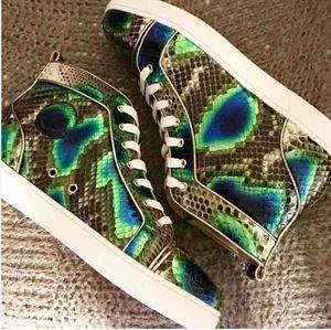 Designer Bright Green Snakeskin Uomini Orlato delle scarpe da tennis inferiori rossi di Lusso Francia High Top Python Appartamenti In Scarpe partito delle donne Uomini simpatica