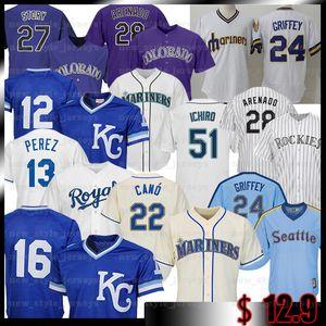 Seattle Mariners KenGriffey Jr 51 Ichiro Suzuki KANSAS CITYROYALS Bo Jackson Eric Hosmer Salvador Pérez jerseys del béisbol George Brett