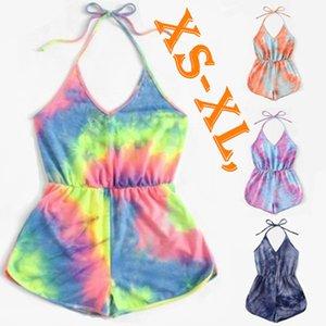 Sexy femmes Designer Salopette été vêtements de plage Tenues de Tie-dye Nouveau style Scoop Neck barboteuses Shorts Capris manches S-XL Hot Vendre