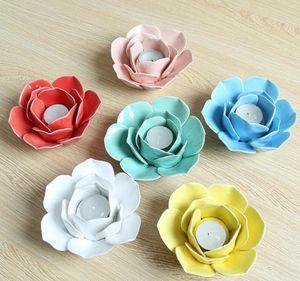 Ceramic Lotus Flower Tealight Holder Handmade Flower Shape Candle Holder for Wedding Home Pink White Yellow Blue Cyan Red