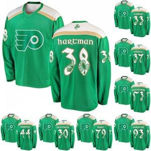 Yeşil 2019 St. Patrick Günü Forması 33 Kamış Talbot 38 Ryan Hartman 53 Shayne Gostisbehere 79 Carter Hart Philadelphia Flyers Hokcey Formaları