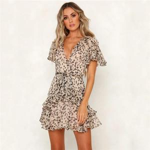 Designer manica Boemia Abiti Ante Zipper spiaggia di estate brevi vestiti di moda Flora abiti con stampa leopardata Flutter
