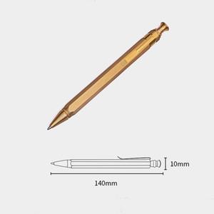 Hecho a mano H65 Latón Estilo de Presión EDC Retro Latón Clip de bolsillo táctico Bolígrafo hexagonal Bolígrafo