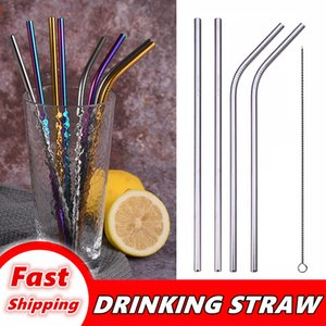 Reusable Metal Drinking Straws Stainless Steel Sturdy Bent Straight Drinking Straw with Cleaning Brush Bar Party Accessory eco friendly 001