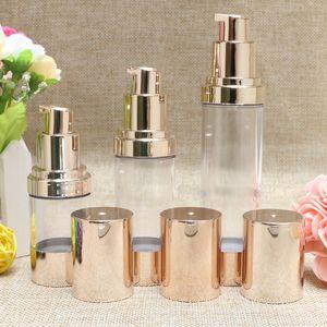 15ml / 30ml / 50ml Bouteilles d'or cosmétiques Airless Lotion Essence Sérum Conditionnement Bouteilles de pompe Les contenants vides de maquillage
