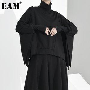 [EAM] Loose Fit asymétrique surdimensionné Sweat-shirt à col roulé à manches longues Nouveau Femmes Big Taille Mode Automne Hiver 2019 1D7920
