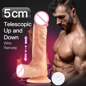 Wire Remote Dildo Realistic Big Telescopic Swing Dick Huge penis vibrator Automatic Heating sex toys dildos for women Adult T200706