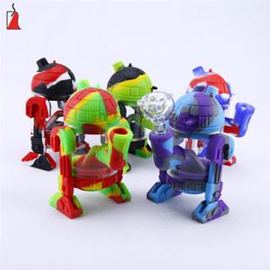 pacote de caixa de presente Silicone Bong Robot Forma de vidro Cachimbo de vidro portátil bong bubbler inquebrável com tigela de vidro Hookah