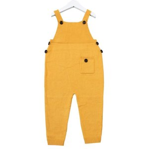 1-5Y Autumn Baby Clothes Unisex Baby Pocket Knitted Rompers Overalls Jumpsuits Boys Girls Candy Color Harem Pants Kids ClothesLvxc#