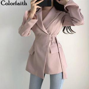 Colorfaith New 2019 Herbst-Winter-Damen-Jacken Büro-Damen schnüren sich oben Formal Outwear elegantes Fest Rosa-Schwarz-Tops JK7042 CJ191205