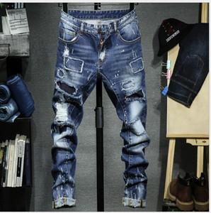 pantalons vaqueros vierten Hommes americanos europeos pantalones vaqueros del estilo de lujo Denim Pantalón recto delgado profundo para hombre azul rasgado nueva