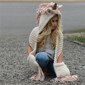 Liligirl 2-8 Yıl Bebek Kint Unicorn Hayvan Karikatür Şapka Kızlar Için Sıcak Püskül El Yapımı Giysiler 2018 Kış Yeni çocuk Kap J190528