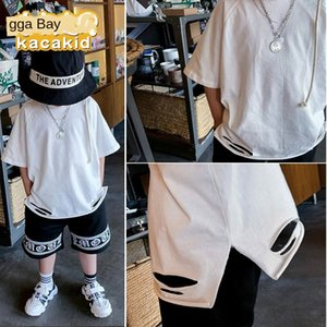 2020 summer clothing basic short-sleeved T- White Children's shoes Children's boy's hole T- base shirt girl's white shirt