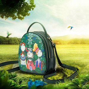 Ms. bag quilting forest girl printing green PU leather fashion trend shoulder bag