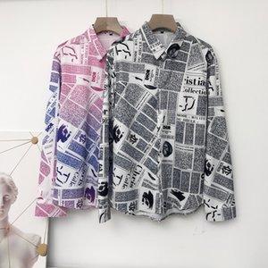 Camisas dos homens de alta qualidade Silk Cotton Slim Fit Casual shirt Men mangas compridas Medusa Harajuku camisas jornal cópia preta dos homens camisas de vestido