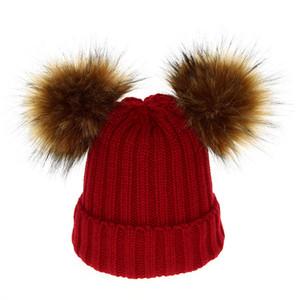 Baby Kids malha Chapéus de Inverno Hairball malha pai-filho Hat Hats Caps Mãe crianças ao ar livre destacáveis Chapéus Criança bebê Presentes 06