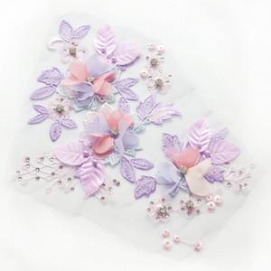 Meetee Net fios de bordado Flores 3D Rhinestone pano Applique Lace Wedding Dress Stage DIY Costura Acessórios de vestuário AY111