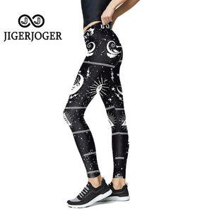 JIGERJOGER Black white Punk Style Women's leggings sport fitness gym leggings athletic yoga pants women super stretchy