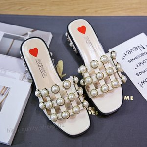 Gucci PHYANIC 2020 Женщина сандалии Струнный площади бисера Мода Toe тапочки Летний пляж Квартиры скольжению на женщин Обувь лианы hococal