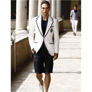 Summer Stylish White Men Suit Short Black Pant Casual Suits For Man 2 Piece Tuxedo Terno Masculino Blazer Dress Jacket Pant Set