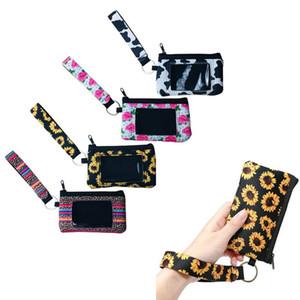 Girasole Leopard Mucca Fiore stampato Supporto multifunzionale del neoprene del passaporto di copertura della carta di identificazione Wristlets frizione raccoglitore della moneta con portachiavi