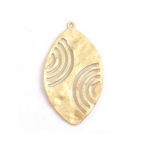 DoreenBeads Fashion Zinc Based Alloy Hammered Pendants Leaf Matt Gold Jewelry DIY Charms Findings 50mm x 28mm(1 1 8