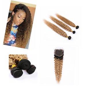 "Virgin Ombre Bundles cheveux avec fermeture 4"" * 4"" Dark Racine Raw humaine Ombre Hair Honey Blonde Bundles # 1B / # 27"
