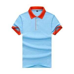 Confortevole rilievo Contrasto risvolti Slim Polo estate T-shirt manica più nuovi adulto Uomini Cielo blu arancio farro JH-016-028