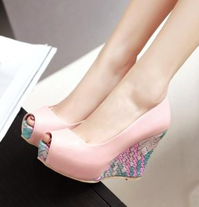 Hot Sale- Woven Printed Peep Toe Platform Wedge Designer High Heels Shoes Blue White Pink Come With Box