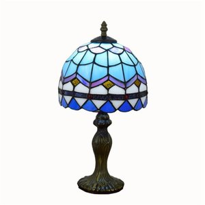 Chambre simple créative européenne méditerranéen bleu clair verre Tiffany salon lampe de table de chevet TF002