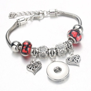 Heart Charm Snap Button Beads Bracelet Lobster Buckle Snake Chain Bangles 6Color Beaded Bracelet Fit 18MM Snap Women DIY Jewelry Accessories