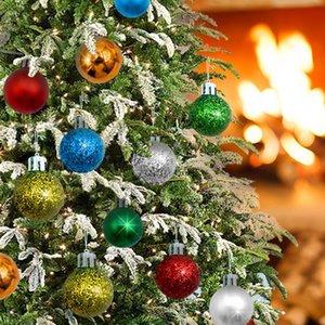 Yılbaşı Ağacı Toys 24pcs Noel Toplar Festivali Chrismas Ağacı Dekorasyon Asma Shing Toplar Oyuncak Garden Party Ev Dekorasyonu No8