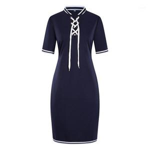 Bleistift Kleid Mode Designer Getäfelten Kleid 6XL Frauen Sommer Casual Kleid Stehkragen Mit Band