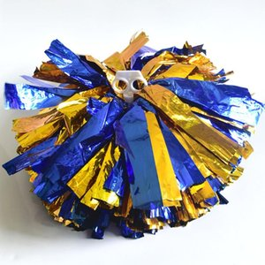 Students Pompons Handhe Cheerleader Pom Poms Cheerleading Dance Party Football Club Decorated Blue Silver Pompom Kids Children