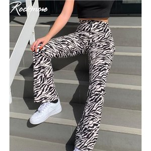 Rockmore Zebra Gestreiften Jogger Streetwear Gerade Hosen Frauen Hohe Taille Hosen Plus Größe Harajuku Korea Breites Bein Hosen Femme Y200418