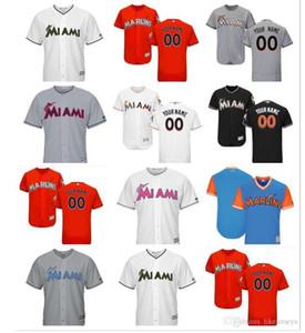 2.018 mujeres jóvenes hombres de encargo a Miami Marlins Jersey 14 Martín Prado 27 Giancarlo Stanton Inicio Naranja Blanco Gris como los jerseys de béisbol