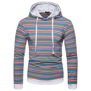 2020 Designer Pullover Casual Sweatshirts Fashion Mens Long Sleeve Striped Panelled Print Hooded Hoodies Male Clothing