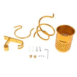 Montaggio a parete Asciugacapelli Hanging spirale cremagliera Colpo Holder Dryer W / Cup Bagno