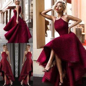 Sexy Alta Baixa Halter Lace Backless Prom Dresses lindo Sexy mangas Vestidos De Fiesta árabe Dubai Burgundy Evening vestes de sarau