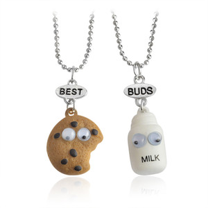 BF Best Friends Meilleur Buds Collier amitié mode Pendentifs biscuits et de lait 3D Jewlery pour les femmes enfants cadeau