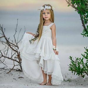 2020 Бич Дешевые Высокая Низкая Bohemian шнурка девушки цветка платья для венчания пляжа Pageant платья Линия Boho Дети Первое причастие платье