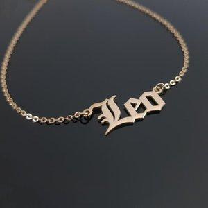 Jóias gótico velha Inglês Carta Constellation colares Mulheres de aniversário para o aço inoxidável Leão Virgem Libra Zodíaco Colar BFF
