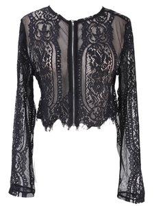 Новая весна лето черная кружевная блузка женские топы выдалбливают рубашка с длинным рукавом блузка сексуальная леди пр офис леди Одежда
