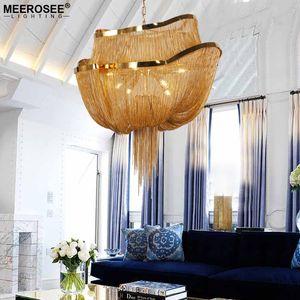 Cadena creativa Diseño Lámpara Luz italiana borla de aluminio Lustres luz pendiente moderna lámpara colgante para la sala Foyer