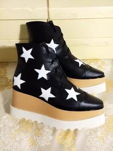 Kadınlar Deri Bilek Boots Stella Mccartney Yıldız Creepers Ayakkabı Rose Gold strappy takozları Platformu Kış Flats Ayakkabı Espadrilles Kutusu L14
