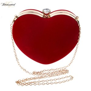 Women Heart Shaped Evening Handbag Clutch Female Suede Fashion Messeng Bag Party Clutch Wedding Purse Banquet Shoulder Bolsa Feminina