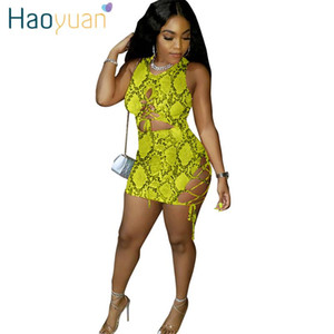 HAOYUAN Snake Print Dress Women Birthday Festival Clothes Vestidos Bodycon Short Mini Bandage Dresses Fashion Sexy Club Dress