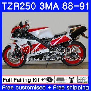 Kit For YAMAHA factory white red TZR250RR TZR-250 TZR 250 88 89 90 91 Body 244HM.38 TZR250 RS RR YPVS 3MA TZR250 1988 1989 1990 1991 Fairing