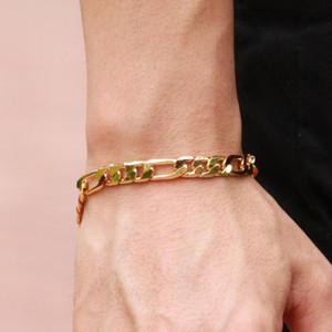 Moda Yeni Altın Kaplama Bilezik Dekor Bilezik Takı Erkekler için Curb Zincir Bağlantı Moda Erkek Takı Hediyeler